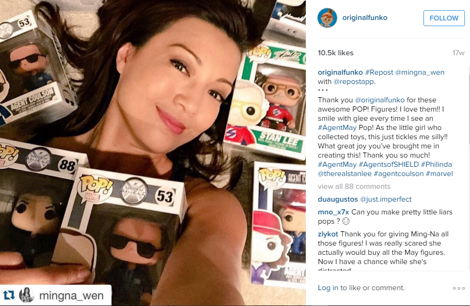 Ming Na Wen shows off her Funko collection