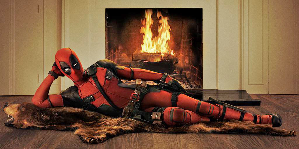 Promotional photo Deadpool on a bearskin rug