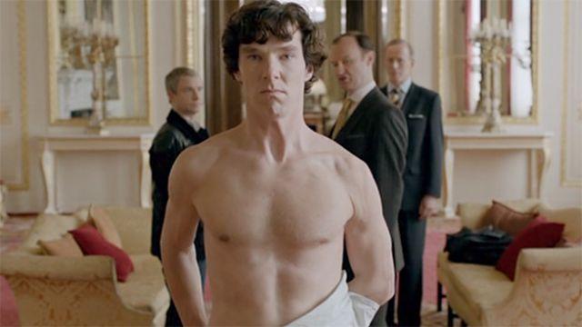 Naked Benedict CUmberbatch as Sherlock Holmes in Sherlock, BBC