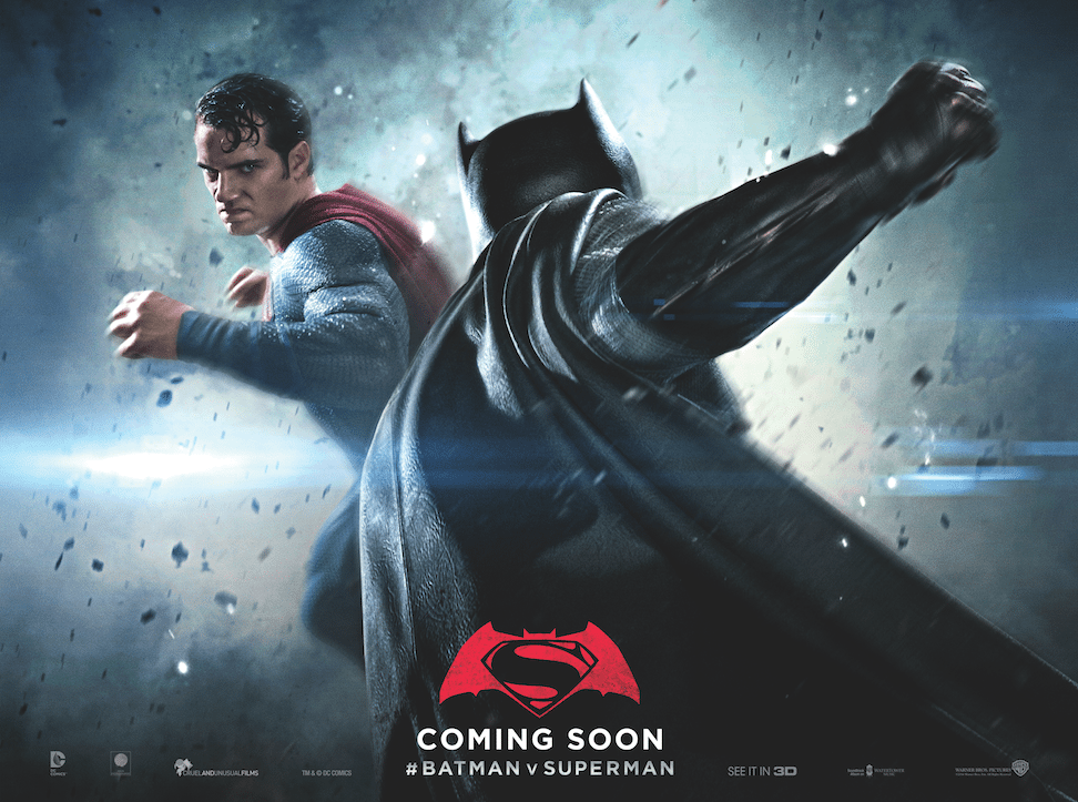 Superman is facing the viewer, about to punch Batman, whose back is to the viewer.