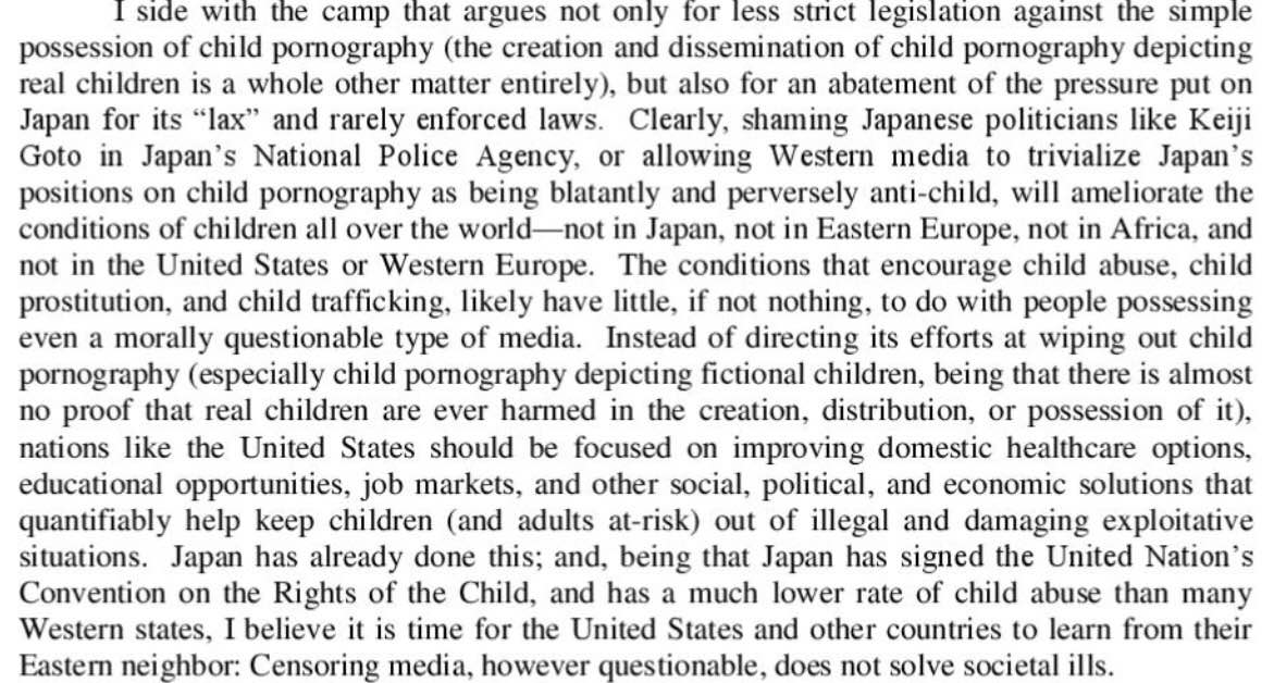 Alison Rapp, Speech We Hate: An Argument for the Cessation of International Pressure on Japan to Strengthen Its Anti-Child Pornography Laws , the Honors Review, 2011