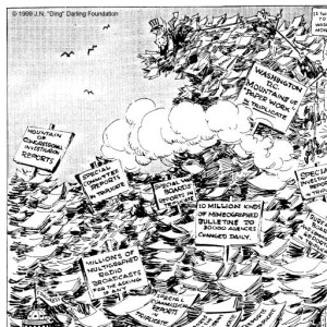 """What a Place for a Waste Paper Salvage Campaign"" by J.N. Darling, 1942 (Des Moines Register and Tribune) [via University of Iowa Special Collections]"