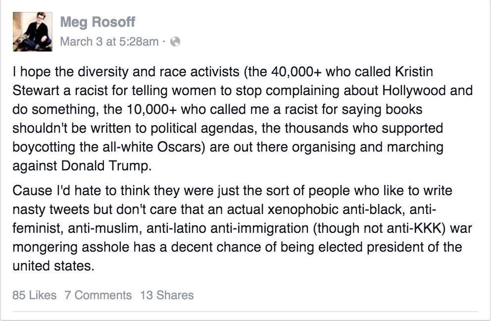 """Meg Rosoff March 2 """"race activist"""" FB post"""