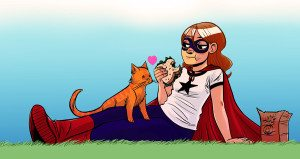 """Superhero Girl Status"" The Adventures of Superhero Girl by Faith Erin Hicks (2012)"