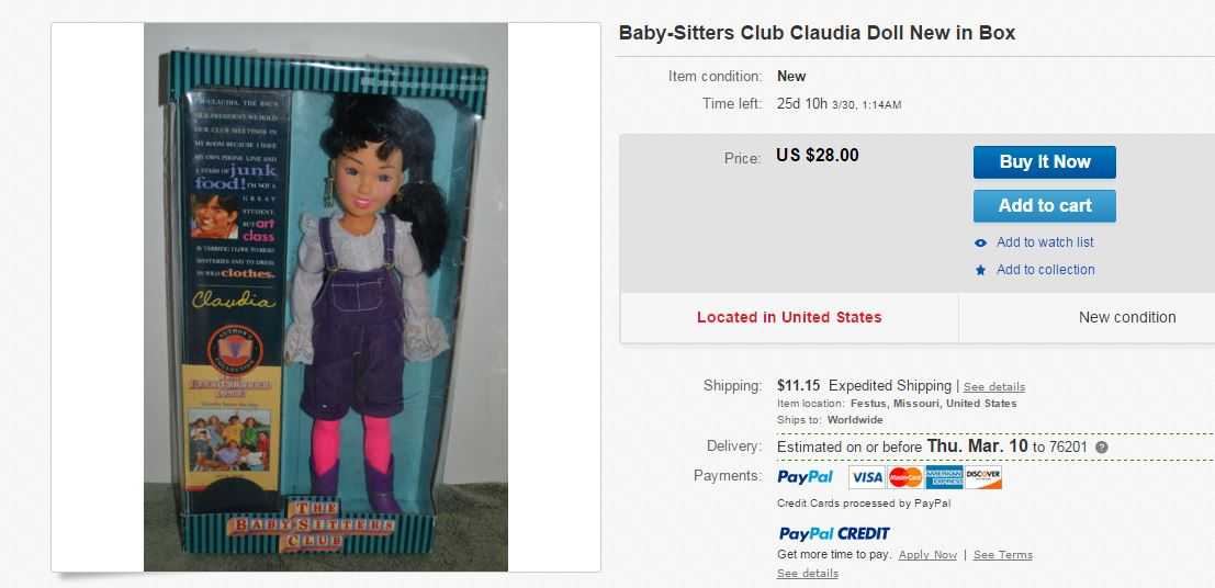 BSC Claudia Doll in Box Ebay Screenshot by Ginnis Tonik