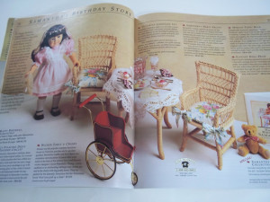 American Girl catalogue spread featuring Samantha's birthday party set, image via Ebay