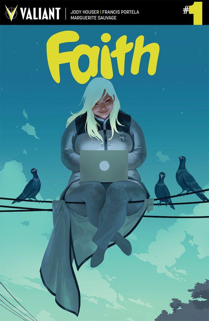 Faith #1 by Jody Houser (W), Francis Portela (A), Marguerite Sauvage (A), Jelena Kevic-Djurdjevic (C); Valiant Entertainment (2015)