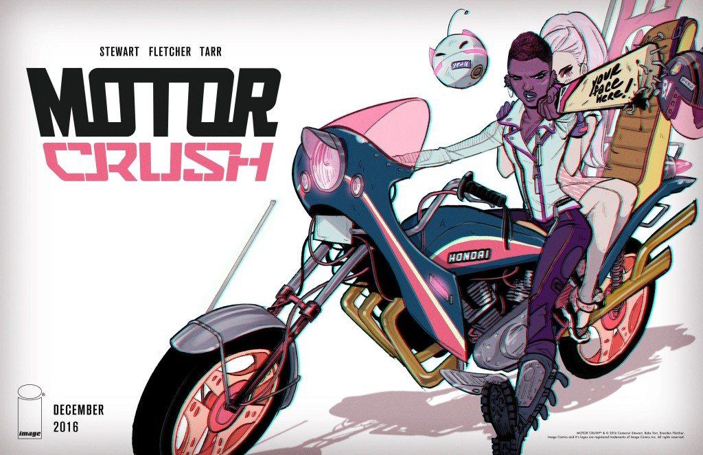 Motorcrush Promotional Image; Cameron Steward, Brendan Fletcher, Babs Tarr; Image (2016)