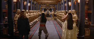 Lo Pan's throne room, this time with Gracie, Miao Yin, and the Storm Brothers.