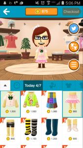 You can buy various clothing items in Miitomo through the shop.