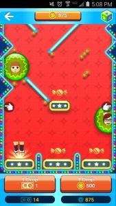 In Miitomo Drop, you drop a Mii down a pinball-like area to win items.