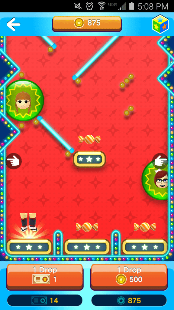 In Miitomo Drop, you drop a Mii down a pinball-like area to win items.