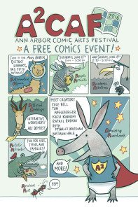 ann arbor comic arts festival, promotional poster, http://a2caf.com/, Cece Bell