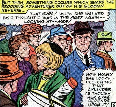 Steve Rogers passes Sharon Carter in a crowd, marvelling at the similarities between her and Peggy Carter.