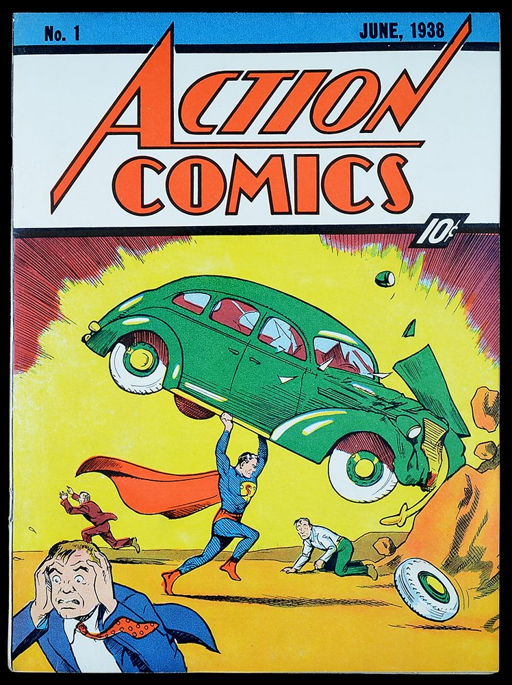 Cover to Action Comics #1 by Joe Shuster. Notice the distinct blue.