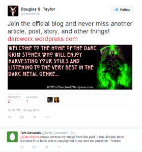 Twitter exchange between Douglas S. Taylor and Tom Edwards.