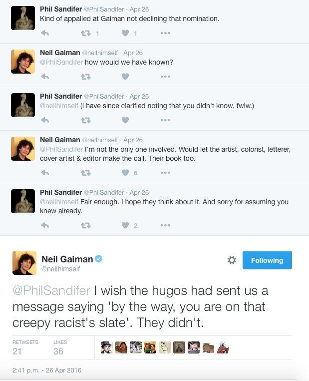 Twitter exchange between Phil Sandifer and Neil Gaiman