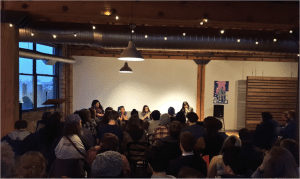 The panelists and crowd during Permission Not Granted. Image courtesy Chicago Zine Fest.