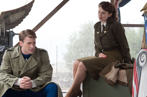 Hayley Atwell and Chris Evans as Peggy Carter and Steve Rogers in Captain America: The First Avenger (MCU 2011)