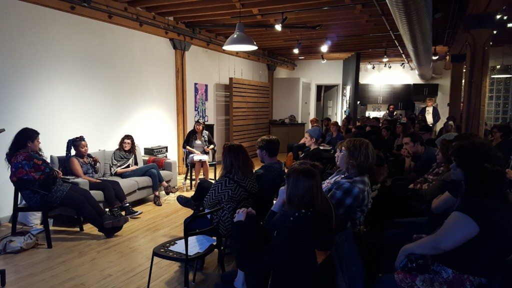 The panelists of Permission Not Granted and their attentive audience. Image courtesy Violet Fox and Chicago Zine Fest.