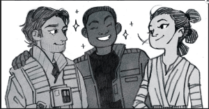 Espinosa did a little Star Wars fanart, including adorable noses! Image from Espinosa's tumblr.