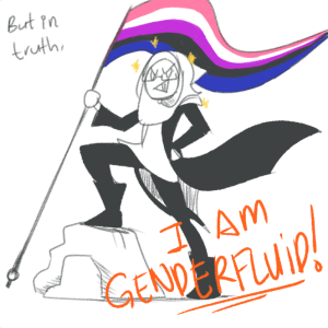 A panel from Helios' comic on being genderfluid. From E. Helios' tumblr.