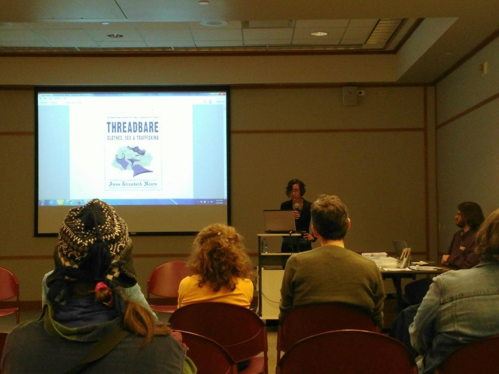 Moore talks about Threadbare to Chicago Zine Fest attendees. Image courtesy Delia Jean.