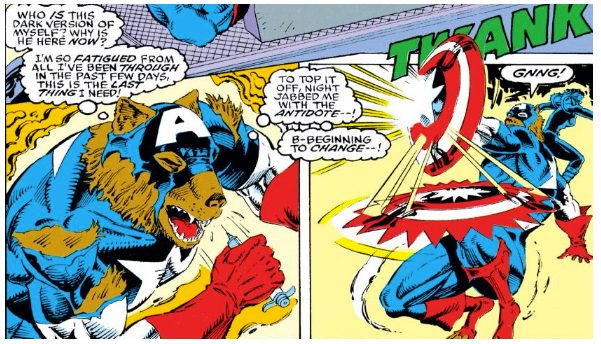 Furry!Steve is just done. Captain America #408, written by Mark Gruenwald, pencilled by Rik Levins, inked by Danny Bulanadi, originally colored by George Roussos, lettered by Joe Rosen