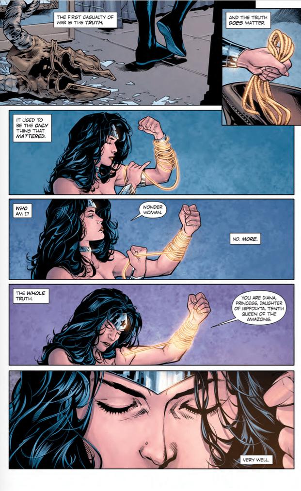 Wonder Woman Rebirth #1. Greg Rucka (Writer), Matthew Clark/Liam Sharp (Penciler), Sean Parsons (Inker), Jeremy Colwell/Laura Martin (Colourists), Jodi Wynne (Letterer), and Liam Sharp/Laura Martin (Cover). DC Comics. June 8th, 2016