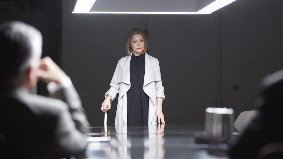"Rachel Duncan confronting ""The Board"" in the Orphan Black season four finale."