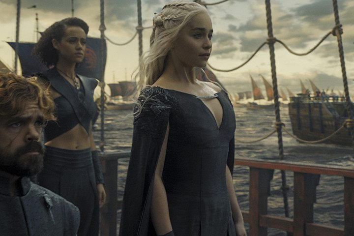 Dany, Hand of the Queen Tyrion and Advisor/Handmaiden Missandei sailing to Westeros with their Dragon Fleet