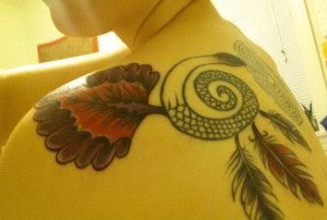 A snippet of my back piece, including the labyrinth.