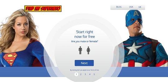 FindMySuperhero.com homepage