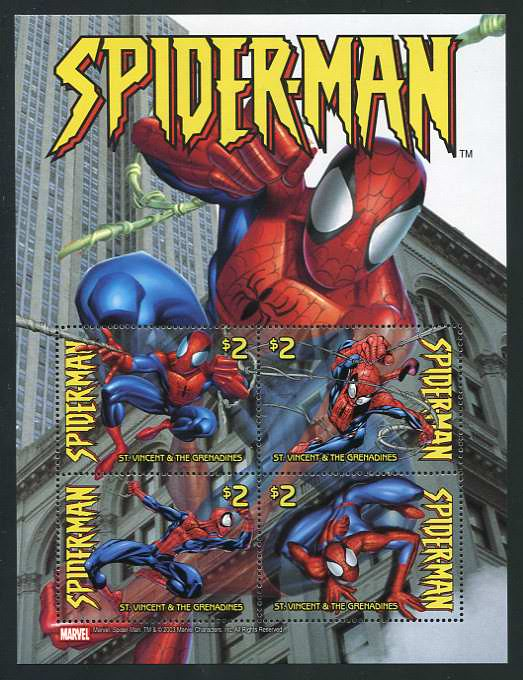 Spiderman st vincent stamps