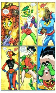 Teen Titans Go! #18 written by J. Torres with Pencils by Mike Norton and inks by Larry Stucker. The Teen Titans Go! comics had many inside jokes for readers familiar with the characters in the greater D.C. comic-verse.