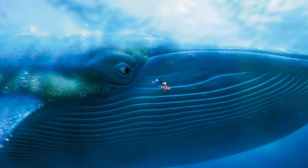 Nemo's dad, Dory, and the whale from Finding Nemo