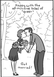 A panel from Erika Moen's final DAR comic. Image from darcomic.com