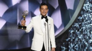 "Rami Malek won the Emmy for lead actor in a drama for his turn on ""Mr. Robot."" (Chris Pizzello/Invision)"
