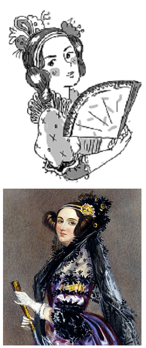 Sophie Foster-Dimino's illustration of Ada Lovelace (above) vs. A.E. Chalon's portrait of Lovelace (below)