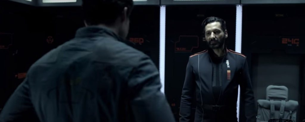 Alex (Cas Anvar) in the uniform of the Martian Congressional Navy