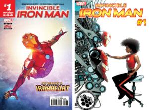 Invincible Iron Man #1 cover by Stefano Caselli (top); Invincible Iron Man #1 STEAM variant cover by mike McKone