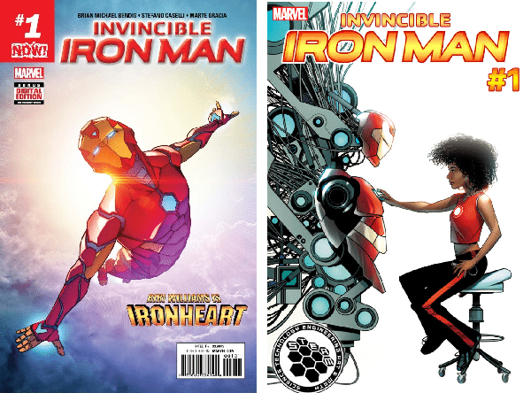 Invincible Iron Man #1 cover by Stefano Caselli (top); Invincible Iron Man #1 STEAM variant cover by mike McKone