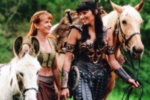 "Renee O'Connor and Lucy Lawless as Gabrielle and Xena, ""Xena: Warrior Princess"""
