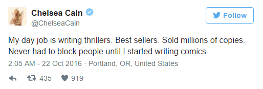 Chelsea Cain's tweet