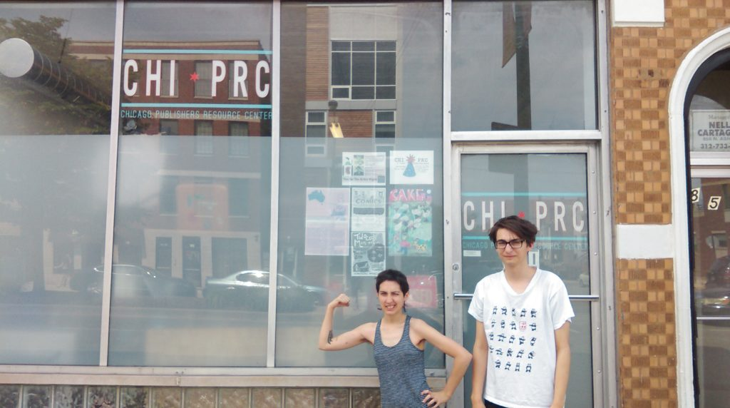 Sarah McNeil and Chris Gooch outside CHIPRC during their residency. Image courtesy CHIPRC.