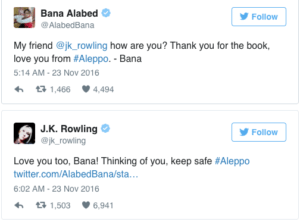 Twitter Exchange between J.K Rowling and Syrian Girl taken from the Times