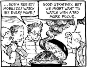 Sydney, Ginger, Mo and Lois watch a turkey burn. Image via Allison Bechdel.