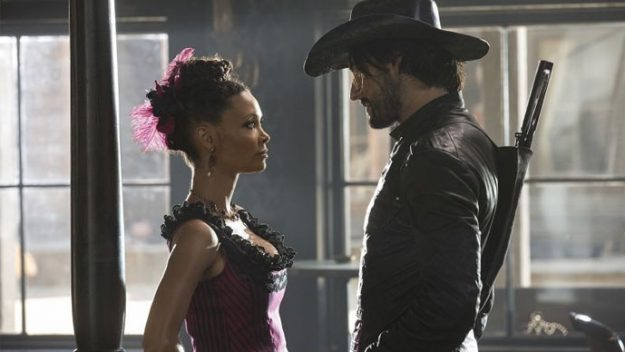 Thandie Newton and Rodrigo Santoro in HBO's Westworld