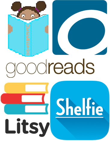 We Read Too, OverDrive, Goodreads, Litsy and Shelfie. Collage.
