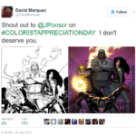 "Artist Dave Marquez recognizing colorist Justin Posner's work on Marvel's ""The Defenders"""